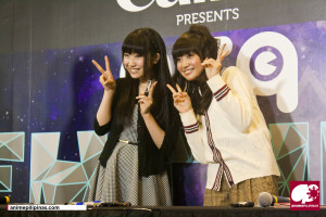 Japanese anime seiyuus Azusa Tadokoro (L) and Ayaka Ohashi (R) posing for pictures during their Meet & Greet session. (Photo by JM Melegrito)