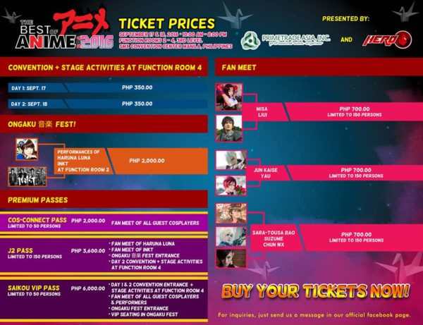 The Best of Anime 2016 - Tickets