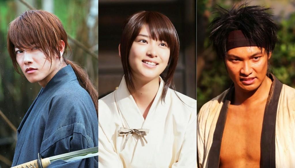 Rurouni Kenshin movie lead actors (from Left) Takeru Satoh, Emi Takei and Munetaka Aoki (Photo from Warner Bros. Pictures)