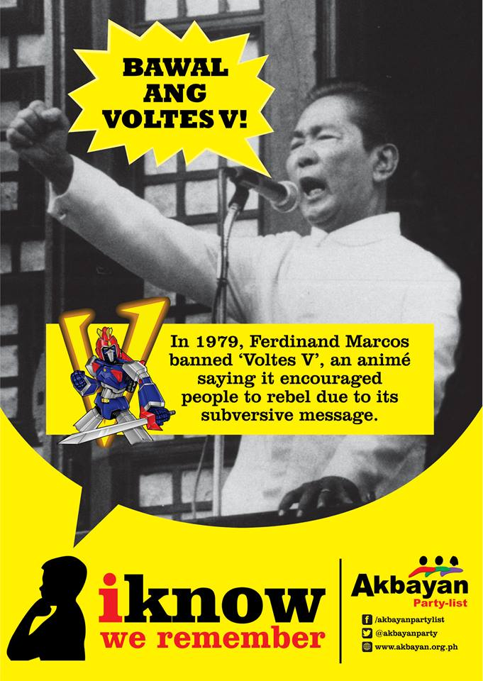Political party Akbayan Partylist's Martial Law remembrance campaign featuring the anime Voltes V. (Photo from Akbayan Partylist's Facebook page)