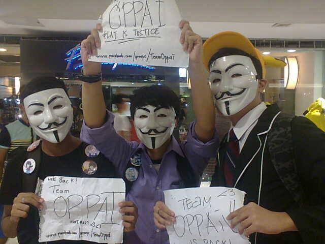 TEAM OPPAI. The people that has no decency. (Photo from Dean Vincent Valenciano on Facebook)