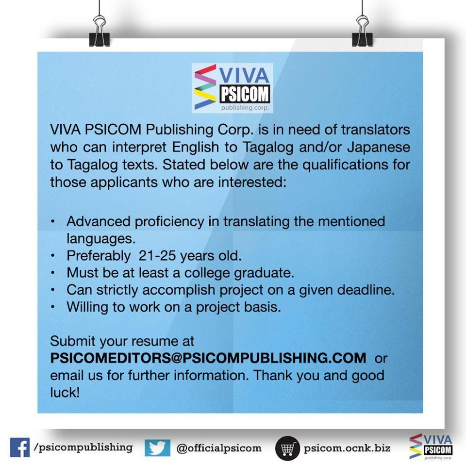 VIVA-PSICOM's Want Ad for Translators. (Photo from VIVA-PSICOM Publishing's Facebook page)