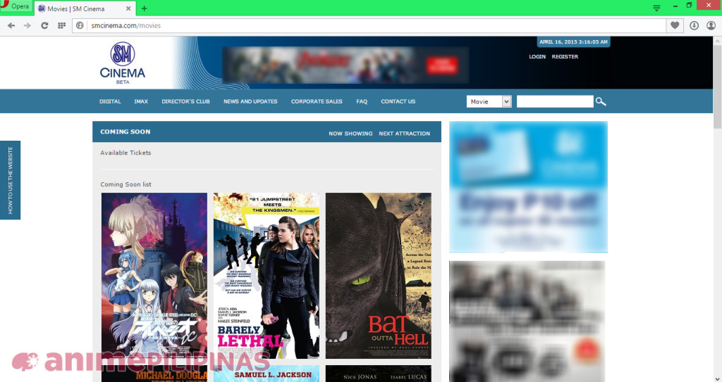 """Screenshot of the """"Coming Soon"""" list of SM Cinema's website, which features the anime movie Arpeggio of Blue Steel -Ars Nova DC-."""