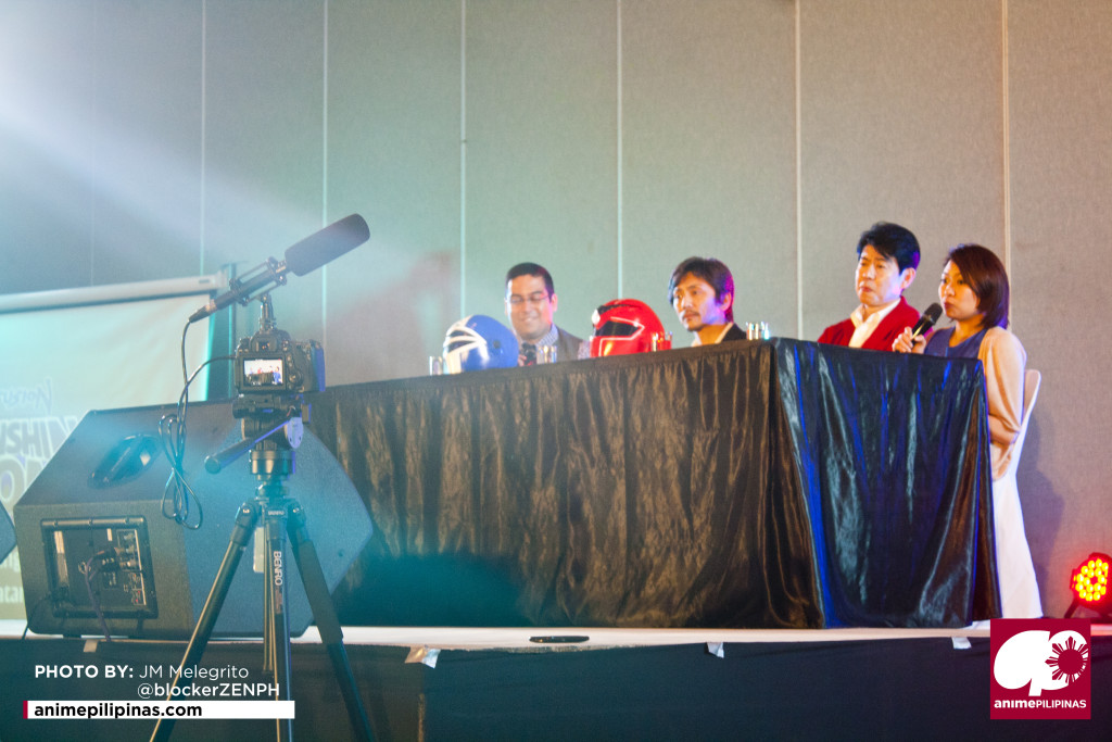 (From Left) Daniel Angel Torres, Kei Shindachiya, Kazunori Inaba, and Georgette Anne Inaba during the Henshincon 2015 Q&A Panel. (Photo from JM Melegrito / Anime Pilipinas)