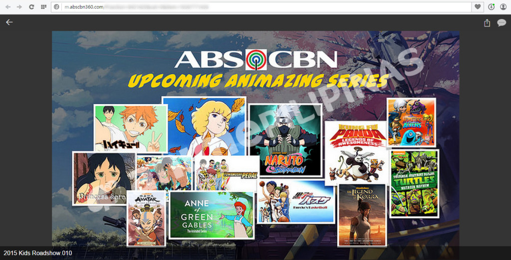 Terrestrial network ABS-CBN's upcoming anime line-up for 2015, posted on ABS-CBN 360 website.