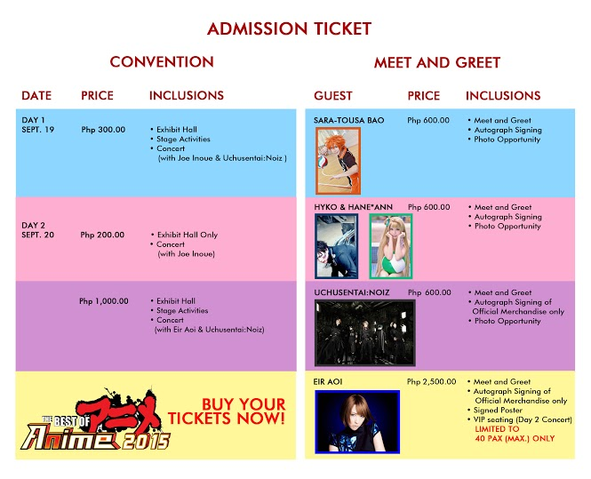 The Best of Anime 2015 - Ticket Prices