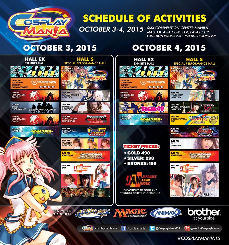 Cosplay Mania 15 - Schedule of Activities