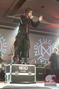 Angel-Taka of the visual kei band UchuSentai:NOIZ, performing during the first day of The Best of Anime 2015. (Photo from JM Melegrito / Anime Pilipinas)