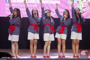 Local idol group Kawaii5 performing on-stage. (Photo from JM Melegrito / Anime Pilipinas)