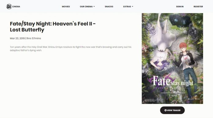 Sm Cinema Listed Second Fate Stay Night Heaven S Feel Film